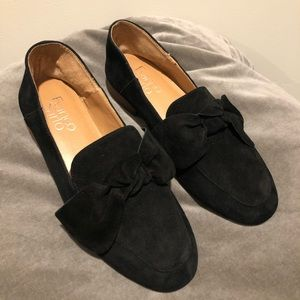 Franco Sarto Size 6 Black Suede Leather Loafers